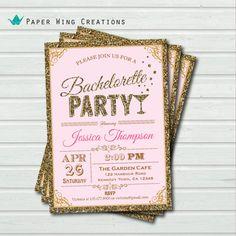 Printable Bachelorette Party Invitation. Elegant glitter gold, soft pink bachelorette party invite. hen party, hens night invitation BC19