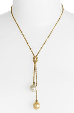 Majorica 'Love Knot' 14mm Pearl Lariat Necklace | Nordstrom