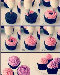 How To Frost Cupcakes with a Beautiful Swirl-fall fest cake walk? It's easy to frost a cupcake beautifully after learning the proper technique. Party/shower inspo: the cupcake swirl/ roses. Welcome to our cupcake galleries ! Get the perfect cupcake reci Icing Tips, Frosting Tips, Frosting Recipes, Cupcake Recipes, Cupcake Cakes, Dessert Recipes, Buttercream Frosting, Fondant Cakes, Cupcake Piping