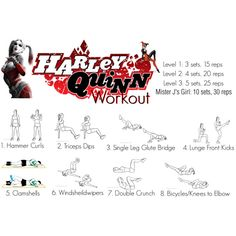 Harley Quinn Workout by mackenzie-hes on Polyvore featuring art