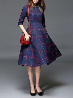Pockets Color Block Midi Dress EWHEAT | StyleWE