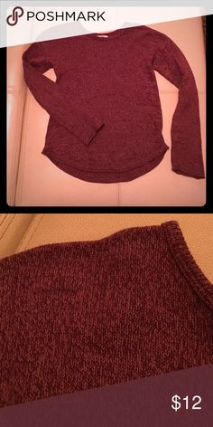 Girls heathered sweater Rounded, rolled gen and unfinished sleeves. Don't think she ever wore it. Very cozy. Thin enough to layer. Heathered maroon/pinkish. Old Navy Shirts & Tops Sweaters