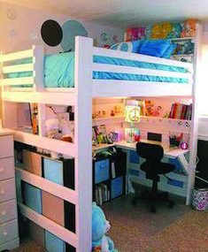 Loft bed for small bedroom. Sturdy, USA made beds, you can pick what features yo. Bunk Beds Small Room, Bunk Bed With Desk, Cool Bunk Beds, Bunk Beds With Stairs, Kids Bunk Beds, Bedroom Small, Loft Bed Desk, Girl Room, Girls Bedroom