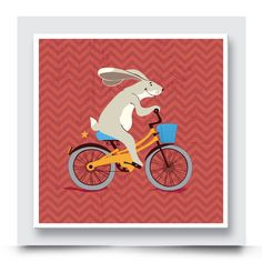 All boys love bikes and animals, so this hipster CYCLING BUNNY wall art which comes printed on stretched canvas or box framed, can live on its own, but would look great with the other Pedaling Animals artwork in this collection. Personalise & Order your art print from http://www.madicleo.com/collections/wall-art-for-boys-rooms