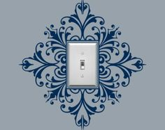 Vinyl Light Switch Plate Decal Scroll Damask by byrdiegraphics