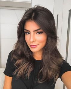 Long Wavy Ash-Brown Balayage - 20 Light Brown Hair Color Ideas for Your New Look - The Trending Hairstyle Medium Hair Styles, Natural Hair Styles, Short Hair Styles, Frontal Hairstyles, Wig Hairstyles, Real Hair Wigs, Light Brown Hair, Brunette Hair, Brunette Mid Length Hair