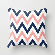 Coral & Navy Chevron Throw Pillow
