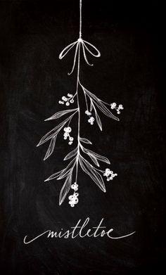Chalkboard art ToniKami ⊱CհαƖҜ ℒЇℕ℮⊰ Christmas mistletoe Baron Art society6.com