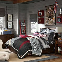 Bedroom Designs For Teenage Guys Grey Painted Wooden Study Desk White Painted Wooden Nightstand Artistic Wall Painting The Bookcase Idea On The Wall Grey Bedding : Home Design Ideas also Interior Decorating Boys Bedroom Furniture, Boys Bedroom Decor, Girls Bedroom, Bedroom Ideas, Boy Bedrooms, Teen Boy Rooms, Baby Rooms, Small Bedrooms, Bedroom Designs