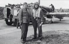 P/O Jan Zumbach (right) of No 303 Squadron RAF poses with the squadron's chief mechanic W/O Kazimierz Mozok at the entrance to one of the blast pens at RAF Northolt in September 1940. Zumbach scored 8 confirmed victories and 1 probable, mostly against Me 109 fighters, during the Battle of Britain.