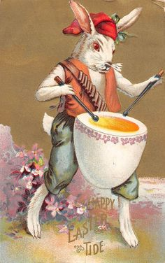 Easter Greeting Dressed Rabbit Playing A Drum Antique Postcard V19494