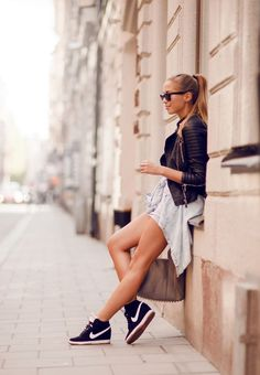 Black jacket sneakers. Casual women apparel @roressclothes closet ideas style ladies outfit