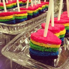 My take on the rainbow cakes on a stick I saw here on pinterest...