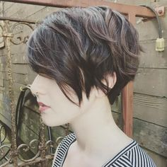 Pixie Cut; sides parallel with jawline, no stacking (not a full cut), blended layers; blend back into neckline & shortest back layer no shorter than occipital bone Pixie Haircut Layered, Style Short Hair Pixie, Pixie Cut Wavy Hair, Pixie Cut Back, Shaggy Pixie, Pixie Cut Hairstyles, Cute Pixie Haircuts, Girls Pixie Cut, Choppy Pixie Cut