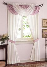 Waterfall Valance Drapes Curtains In Dusty Rose and White Panel Set Curtains And Draperies, Hanging Curtains, Drapes Curtains, Valances, Velvet Curtains, Drapery, Window Coverings, Window Treatments, Waterfall Valance