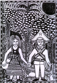 A donzela e o cangaceiro (The maiden and the outlaw). Woodcut of Carlos Henrique, Crato, Ceará, Brasil