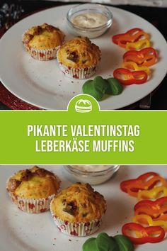 Die herzhaften Leberkäse Muffins mit gourmetfein Pizza Leberkäse sind eine wahre Gaumenfreude für alle Genießer! Ideal als Rezeptidee für den Valentinstag geeignet! Muffins, Pizza, Breakfast, Food, Gourmet, Valentines Day Food, Eat Lunch, Food And Drinks, Food Food