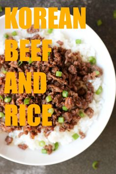 Our Korean Beef and Rice is the easiest meal you'll make ALL week. It's ready in less than 20 minutes, and it tastes just as good as takeout! Using ground beef instead of sirloin slices, it's not only budget friendly, but KID friendly, too. Rice Recipes, Asian Recipes, Cooking Recipes, Healthy Recipes, Budget Recipes, Recipies, Cooking Rice, Cooking Turkey, Donut Recipes