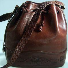 Brighton Leather Drawstring Bucket Shoulder Bag CrossBody Bag Brown Boho Chic  #Brighton #CrossBodyShoulderBag