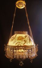 Antique Victorian Hanging Electrified Oil Lamp Chandelier Gnomes Cherubs Putti & Hibiscus Shade Light Fixture