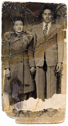 """Henrietta & David Lacks, c. 1945. Cancer cells harvested from Henrietta Lacks """"during a biopsy and cultured without her permission"""" were the first human cells to be reproduced in a lab. They were used in medical research all over the world, but she and her family did not benefit. After the cancer killed Lacks, a lab assistant at her autopsy glanced at her painted red toes and thought: 'Oh jeez, she's a real person.'"""" Caption info from Lisa Maronelli, NYT (at link)"""