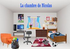 Nicolas& bedroom - Give your students the worksheets with the empty room, the furniture (you can cut out the furniture) and the instructions in French. French Teacher, Teaching French, French Worksheets, Core French, Classroom Furniture, French Classroom, French Resources, Classroom Games, Empty Room