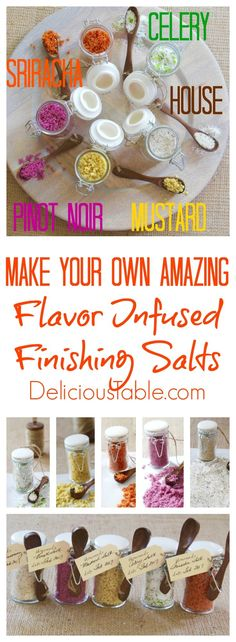 FOUR Amazing Finishing Salts + House Seasoning: Sriracha, Pinto Noir, Mustard, Celery, and House Seasoning. Step by step instructions with recipe ideas! Homemade Spice Blends, Homemade Spices, Homemade Seasonings, Spice Mixes, No Salt Recipes, Fun Easy Recipes, Home Recipes, Finishing Salt Recipe, Food Gifts