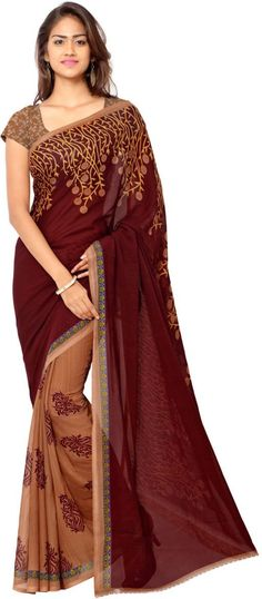 Anand Sarees Floral Print Daily Wear Synthetic Georgette Saree (Maroon)