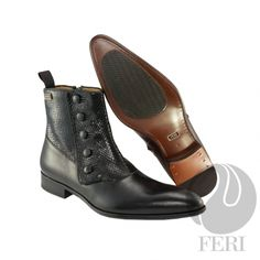 - Mens genuine leather chelsea boot with zipper - Real cow hide leather with genuine python upper - Genuine leather sole - Custom sole imprint with FERI design - Colour: Black - Heel height: inches - Hardware plate: inches x inches Luxury Shoes, Luxury Jewelry, Leather Chelsea Boots, Cowhide Leather, Shoe Collection, Black Heels, Cow Hide, Men's Shoes, Latest Trends
