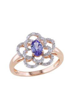 14K Rose Gold Pave Diamond & Tanzanite Flower Ring - 0.15 ctw