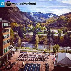 """Colorado Wedding Venue: The Westin Riverfront Resort & Spa  We love #breckbecause it's our home turf, but check out this view of Beaver Creek in this regram from @westinriverfront! // """"We see snow!! Great picture @travistyler1971."""" #vailweddings #beavercreekweddings #breckweddings"""