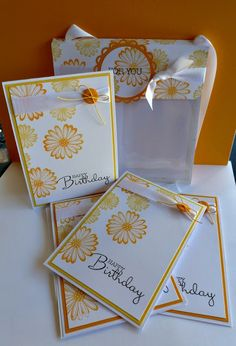 A card pouch made using a 6 X 6 page protector and decorated using AnnaBelle Stamps 'Daisy Delight' Stamp Set!