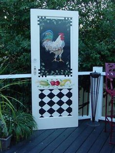 One of a Kind French Country Antique Door w Chic not Shabby Handpainted ROOSTER~ in Antiques, Architectural & Garden, Doors Shaker Interior Doors, Rooster Decor, Rooster Kitchen Decor, Chicken Art, Chickens And Roosters, Pintura Country, Hand Painted Furniture, Paint Furniture, Old Doors