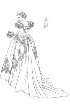 Belle Epoque era lady sketch by manga artist Reiko Shimizu.