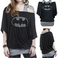 Wish | Women Crewneck Batwing Sleeve Tank Top Blouse Jumper Fake Two-Piece Tee T-shirt Clothing