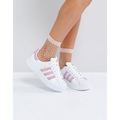 adidas White And Pink Superstar Bold Sole Sneaker (€91) ❤ liked on Polyvore featuring shoes, sneakers, white, logo cap, white sneakers, adidas shoes, white lace up sneakers and pink shoes