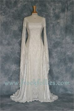Elvish Wedding Dress Medieval Hand Fasting Gown by frockfollies