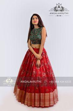 Angalakruthi-Custom designer boutique in Bangalore We. Lehenga Choli Designs, Saree Blouse Designs, Half Saree Designs, Fancy Blouse Designs, Floral Designs, Indian Lehenga, Green Lehenga, Frock Design, Long Dress Design