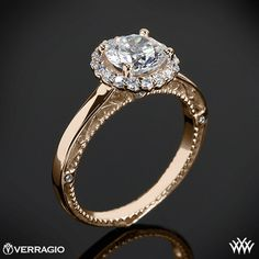 Verragio Rounded Halo Solitaire Engagement Ring