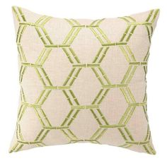 Embroidered Bamboo Design Bright Green Linen Pillow