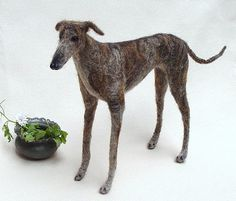 Greyhound, Galgo Español sculpture needle felted portrait, flexible brindled Sighthound replica, felted pet soft sculpture, animal miniature