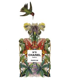 Chanel Nº 5 perfume illustration by Sixto-Juan Zavala for Highlife Magazine.