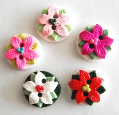 Button Poinsettia pick your color handmade by digitsdesigns, $9.50