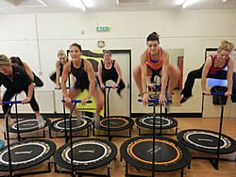 Fitness and excercise on a mini trampoline with Boogie Bounce