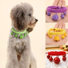 Pet Bell Collar Adjustable Pet Dog Cat Necklace With 5 Bells Puppy Dog Grooming Accessories Solid Color