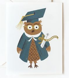 Congrats owl card from Rifle Paper Co