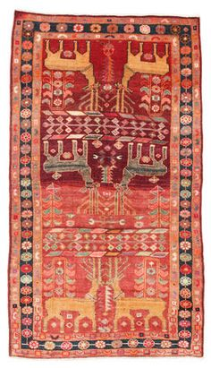 Hamadan Patina pictorial carpet - orange rug with deer