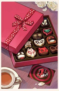 """""Allow us to take your heart, Valentine"" A print I'll have at ALA this coming weekends! Persona 5 Memes, Persona 5 Joker, Otaku, Ren Amamiya, Shin Megami Tensei Persona, Akira Kurusu, All Games, Anime Art, Things To Come"