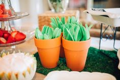 Utensils placed in terra cotta pots from a Beatrix Potter's Peter Rabbit Inspired Birthday Party on Kara's Paty Ideas | KarasPartyIdeas.com (16)