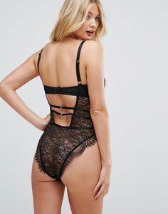 ASOS FULLER BUST Missy Underwired Lace Body With Cross Detail - Black